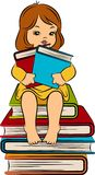 Cartoon little girl with book Stock Photography