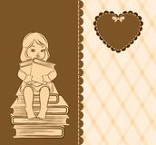 Cartoon little girl with book Royalty Free Stock Images
