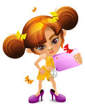 A Cartoon little girl with a camera dressing mother's shoes Stock Photos