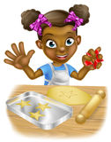 Cartoon Little Girl Chef Cooking Stock Photos