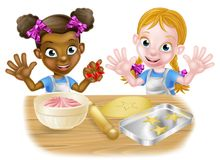 Cartoon Little Girl Chefs Cooking Royalty Free Stock Photo