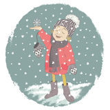 Cartoon little girl child is the first character catches snowflakes. Vector illustration Stock Image