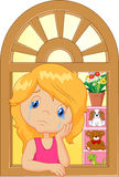 Cartoon little girl cry and watching out the window. Illustration of cartoon little girl cry and watching out the window Royalty Free Stock Photos