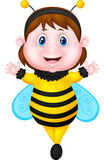 Cartoon Little girl dressed as bee Royalty Free Stock Image