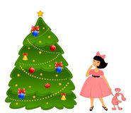 Cartoon little girl with a fir-tree Stock Images