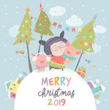 Cartoon little girl with funny pigs. Christmas card stock photography