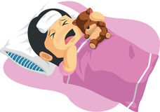 Cartoon of Little Girl Having A Fever. A vector image of a little girl resting in bed because she has a fever. Drawn in cartoon style, this vector is very good Stock Photography