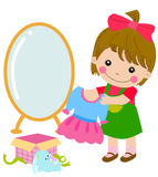 Cartoon little girl and her gift Royalty Free Stock Photography