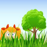 Cartoon little girl hide in grass Royalty Free Stock Images