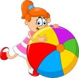 Cartoon little girl holding ball Royalty Free Stock Image