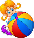 Cartoon little girl holding ball Royalty Free Stock Images