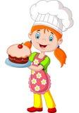 Cartoon little girl holding cake Stock Image