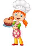 Cartoon little girl holding cake Stock Images