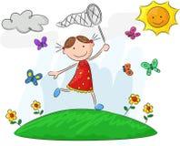 Cartoon little girl holding nets Stock Photography