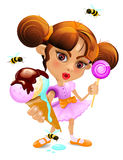 A Cartoon little girl with an ice-cream and a candy Royalty Free Stock Photo