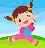 Cartoon little girl jumping Stock Photo