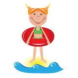 Cartoon little girl with a lifeline Stock Image
