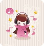 Cartoon little girl listening to music. And surrounded by notes and stars Royalty Free Stock Images