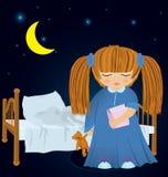 Cartoon little girl near bed vector Stock Image