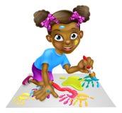 Cartoon Little Girl Painting Royalty Free Stock Photos