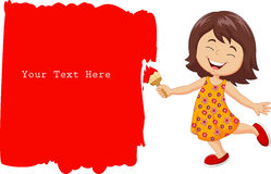 Cartoon little girl painting the wall with red color Royalty Free Stock Photography
