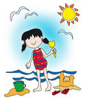Cartoon little girl playing at the beach. Large childlike cartoon character: little girl with a big smile playing at the beach, building sand castle Royalty Free Stock Photo