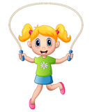 Cartoon little girl playing jumping rope Royalty Free Stock Photography