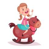 Cartoon little girl in skirt riding rocking horse Stock Image