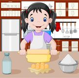 Cartoon little girl stretching the dough. Illustration of Cartoon little girl stretching the dough Royalty Free Stock Photos