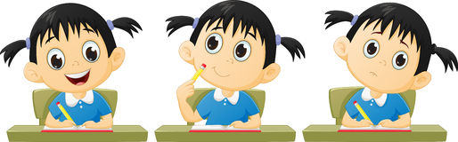 Cartoon little girl studying. Vector illustration of cartoon little girl studying isolated on white Royalty Free Stock Image