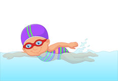 Cartoon little girl swimmer in the swimming pool Stock Image