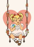 Cartoon little girl with swings. Royalty Free Stock Photography