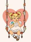 Cartoon little girl with swings. Vintage cartoon little girl with swings Royalty Free Stock Photography