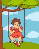 Cartoon little girl with swings. Stock Photo