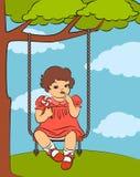 Cartoon little girl with swings. Vintage cartoon little girl with swings Stock Photo