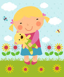 Cartoon little girl and teddy Royalty Free Stock Images