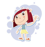 Cartoon little girl waving hand. Royalty Free Stock Image
