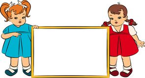 Cartoon little girsl with banner Royalty Free Stock Images