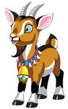 Cartoon little goat with bell stock illustration