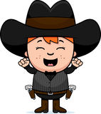 Cartoon Little Gunfighter Celebrate Stock Photos