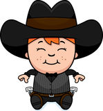 Cartoon Little Gunfighter Sitting Stock Image