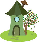 Cartoon little house with tree Stock Photos