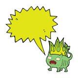 cartoon little imp with speech bubble Stock Image