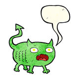 cartoon little imp with speech bubble Royalty Free Stock Image