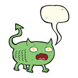 Cartoon little imp with speech bubble Royalty Free Stock Photos