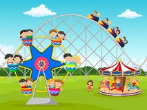 Cartoon little kid in the carnival festival Stock Photography