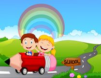 Cartoon little kid go to school Royalty Free Stock Images