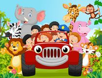 Cartoon little kid happy with animal Royalty Free Stock Images
