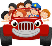 Cartoon little kid happy with red car Stock Images