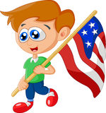 Cartoon little kid holding american flag Royalty Free Stock Photos